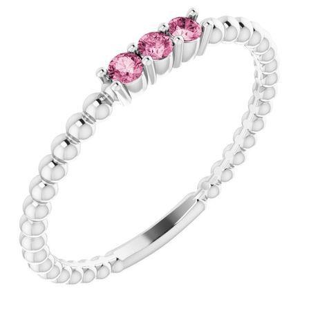 Pink Tourmaline Ring in 14 Karat White Gold Pink Tourmaline Beaded Ring