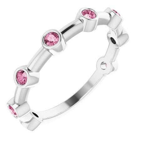 Pink Tourmaline Ring in 14 Karat White Gold Pink Tourmaline Bezel-Set Bar Ring