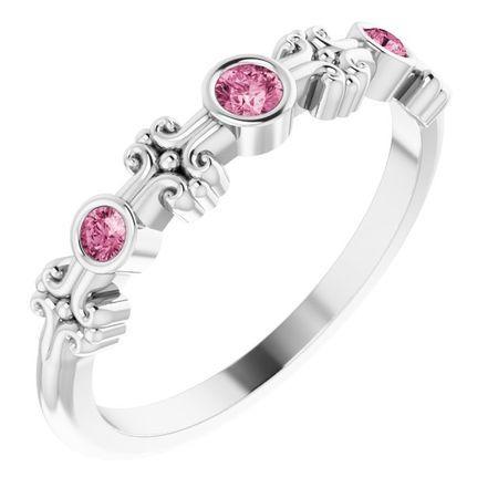 Pink Tourmaline Ring in 14 Karat White Gold Pink Tourmaline Bezel-Set Ring