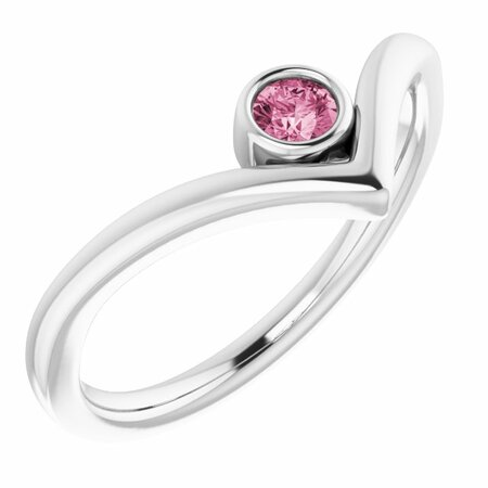 Pink Tourmaline Ring in 14 Karat White Gold Pink Tourmaline Solitaire Bezel-Set