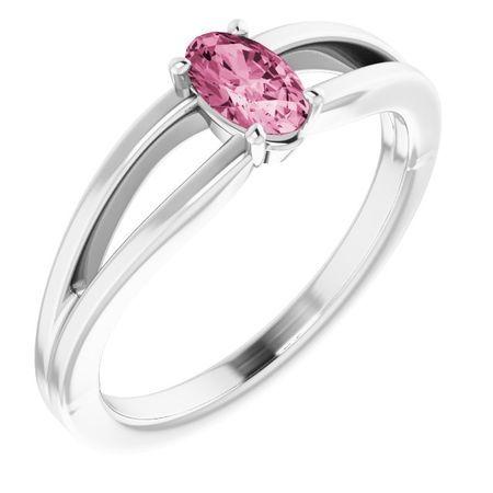 Pink Tourmaline Ring in 14 Karat White Gold Pink Tourmaline Solitaire Youth Ring