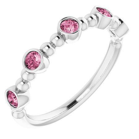 Pink Tourmaline Ring in 14 Karat White Gold Pink Tourmaline Stackable Beaded Ring