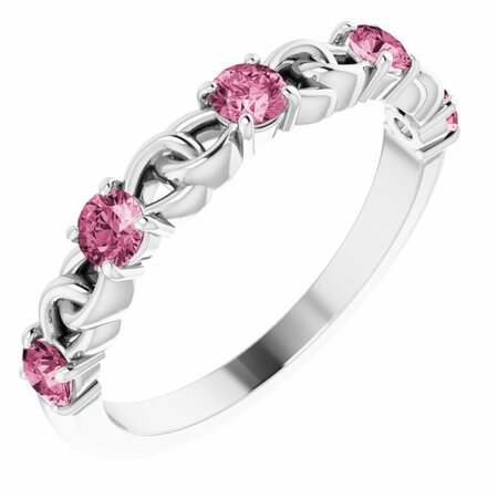 Pink Tourmaline Ring in 14 Karat White Gold Pink Tourmaline Stackable Link Ring
