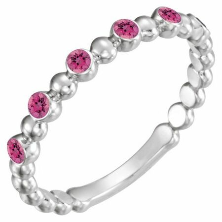 Pink Tourmaline Ring in 14 Karat White Gold Pink Tourmaline Stackable Ring