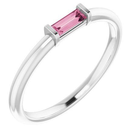 Pink Tourmaline Ring in 14 Karat White Gold Pink Tourmaline Stackable Ring