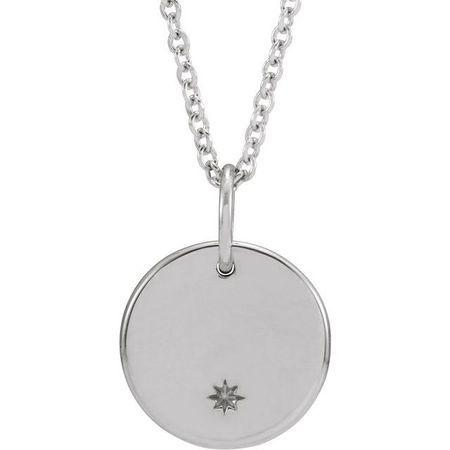 Diamond Necklace in 14 Karat  Gold Round Starburst 16-18