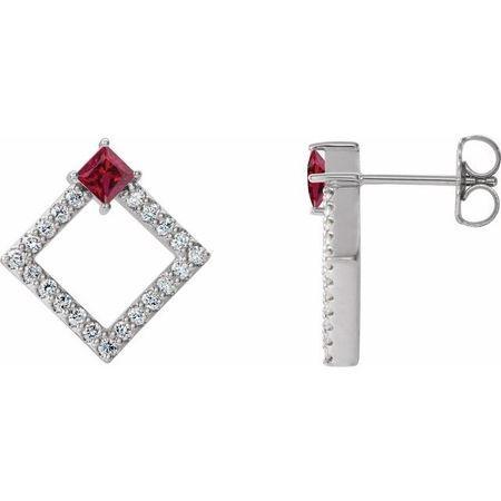 Genuine Ruby Earrings in 14 Karat White Gold Ruby & 1/3 Carat Diamond Earrings