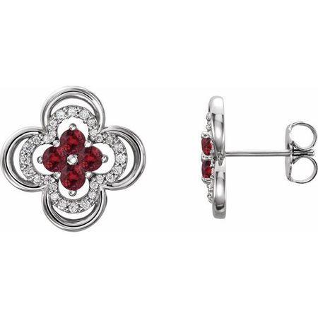 Natural Ruby Earrings in 14 Karat White Gold Ruby & 1/5 Carat Diamond Clover Earrings