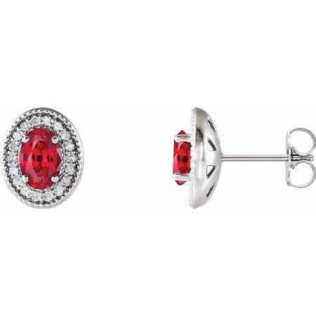Genuine Ruby Earrings in 14 Karat White Gold Ruby & 1/5 Carat Diamond Halo-Style Earrings