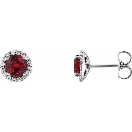 Genuine Ruby Earrings in 14 Karat White Gold Ruby & 1/6 Carat Diamond Earrings