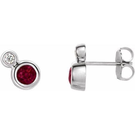 Genuine Ruby Earrings in 14 Karat White Gold Ruby & 1/8 Carat Diamond Earrings