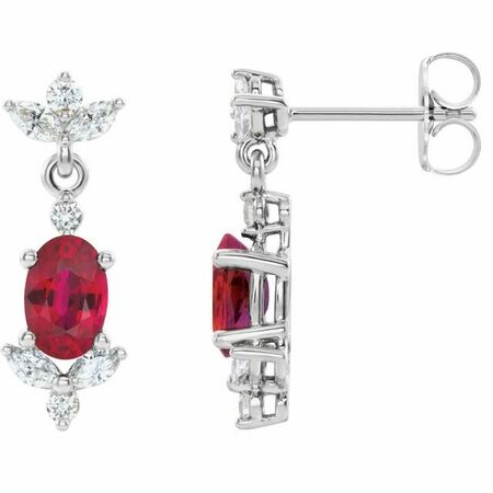 Genuine Ruby Earrings in 14 Karat White Gold Ruby & 3/8 Carat Diamond Earrings