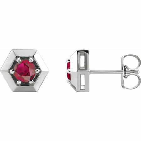 Genuine Ruby Earrings in 14 Karat White Gold Ruby Geometric Earrings