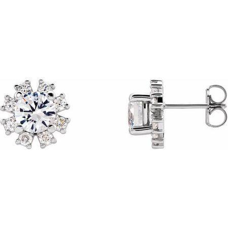 Genuine Sapphire Earrings in 14 Karat White Gold Sapphire & 1/2 Carat Diamond Earrings