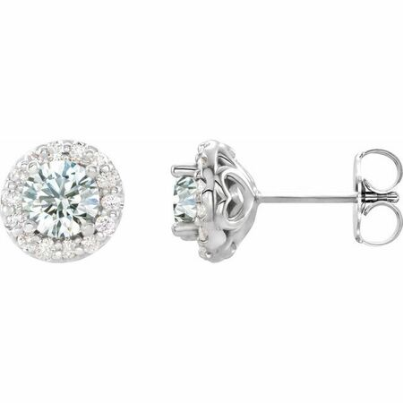 Genuine Sapphire Earrings in 14 Karat White Gold Sapphire & 1/4 Carat Diamond Earrings