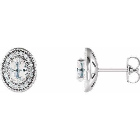 Genuine Sapphire Earrings in 14 Karat White Gold Sapphire & 1/5 Carat Diamond Halo-Style Earrings