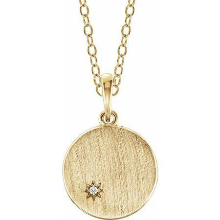 Genuine Diamond Necklace in 14 Karat Yellow Gold .005 Carat Diamond Engravable Necklace