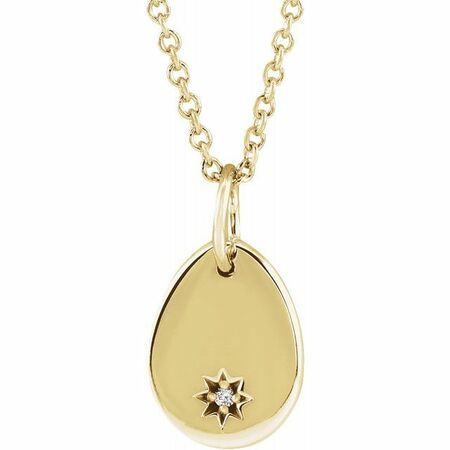 Natural Diamond Necklace in 14 Karat Yellow Gold .005 Carat Diamond Pear Starburst 16-18