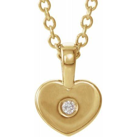 Natural Diamond Necklace in 14 Karat Yellow Gold .01 Carat Diamond Youth Heart 16