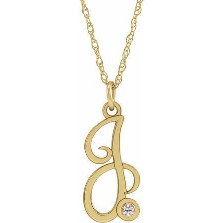 Natural Diamond Necklace in 14 Karat Yellow Gold .02 Carat Diamond Script Initial J 16-18