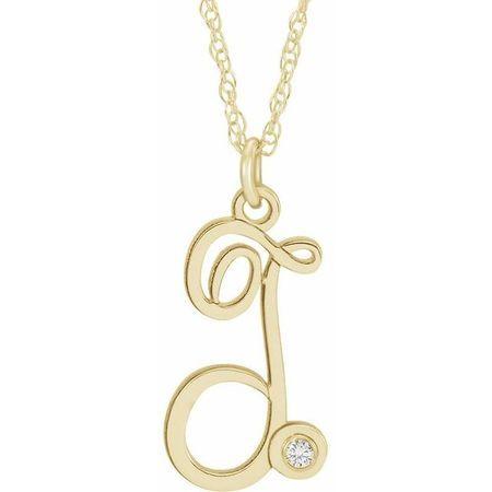Natural Diamond Necklace in 14 Karat Yellow Gold .02 Carat Diamond Script Initial T 16-18