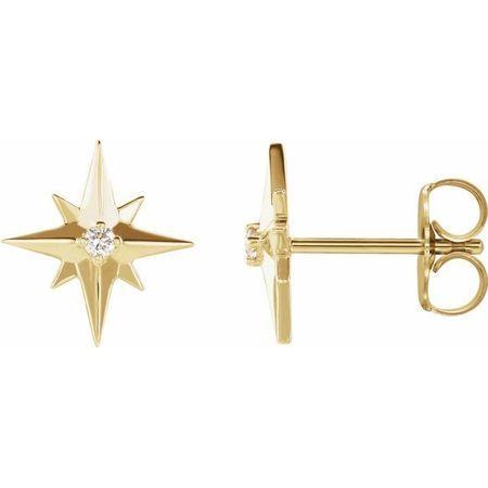 White Diamond Earrings in 14 Karat Yellow Gold .03 Carat Diamond Star Earrings