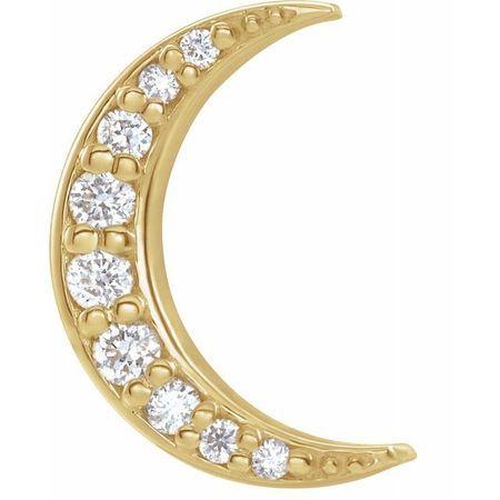 White Diamond Earrings in 14 Karat Yellow Gold .04 Carat Diamond Crescent Moon Single Earring