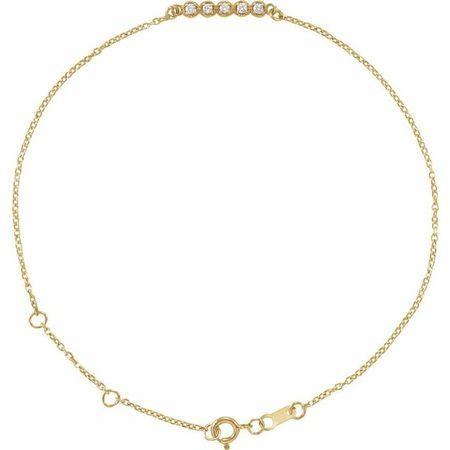 White Diamond Bracelet in 14 Karat Yellow Gold.07 Carat Diamond Bar 6 1/2-7 1/2