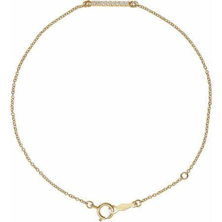White Diamond Bracelet in 14 Karat Yellow Gold .07 Carat Diamond Bar 6 1/2-71/2