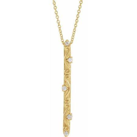 Genuine Diamond Necklace in 14 Karat Yellow Gold .07 Carat Diamond Vintage-Inspired 16-18
