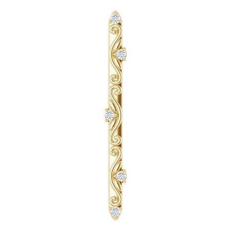 White Diamond Pendant in 14 Karat Yellow Gold .07 Carat Diamond Vintage-Inspired Vertical Bar Pendant