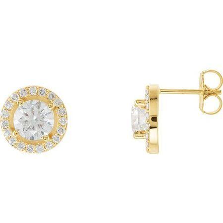 White Diamond Earrings in 14 Karat Yellow Gold 1 1/2 Carat Diamond Halo-Style Earrings