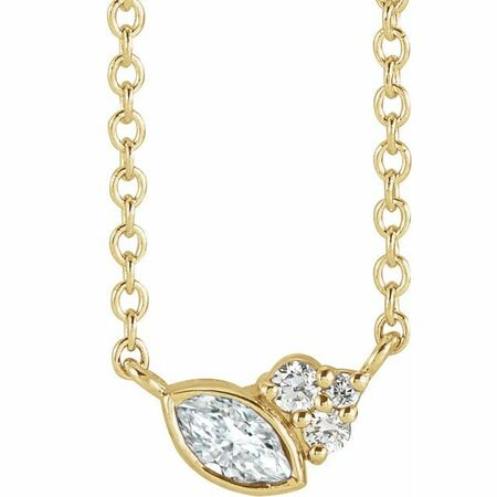 Natural Diamond Necklace in 14 Karat Yellow Gold 1/10 Carat Diamond 18