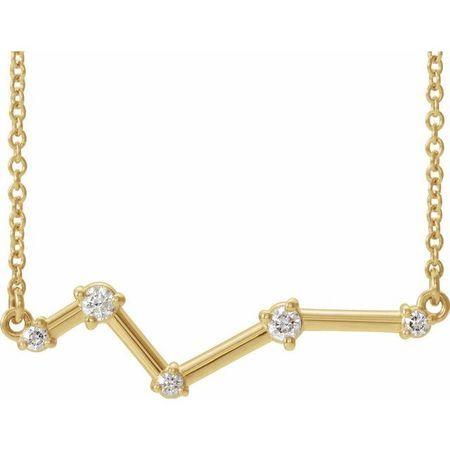 Natural Diamond Necklace in 14 Karat Yellow Gold 1/10 Carat Diamond Constellation 16