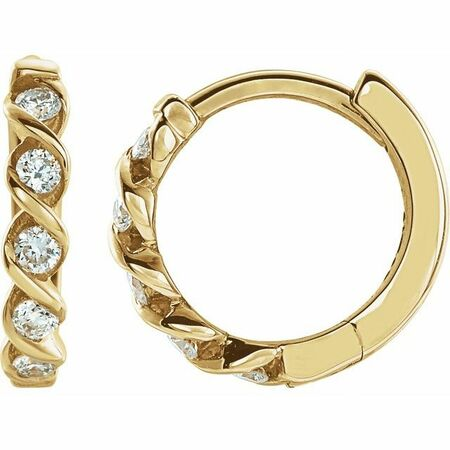 White Diamond Earrings in 14 Karat Yellow Gold 1/10 Carat Diamond Hoop Earrings