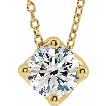 White Diamond Necklace in 14 Karat Yellow Gold 1/2 Carat Diamond Solitaire 16-18