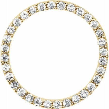 White Diamond Pendant in 14 Karat Yellow Gold 1/2 Carat Diamond Circle Pendant SI2-SI3, G-H