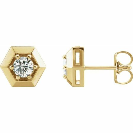 White Diamond Earrings in 14 Karat Yellow Gold 1/2 Carat Diamond Geometric Earrings