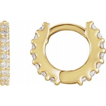 White Diamond Earrings in 14 Karat Yellow Gold 1/2 Carat Diamond Hinged 16 mm Hoop Earrings