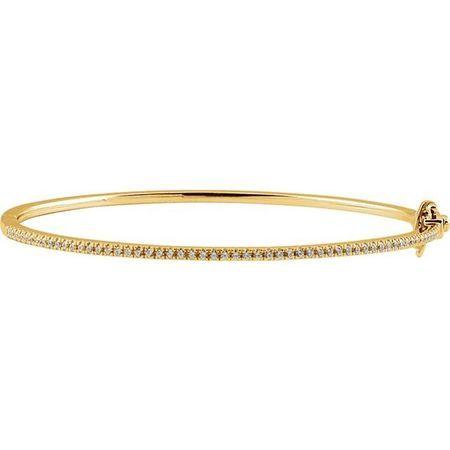 White Diamond Bracelet in 14 Karat Yellow Gold 1/2 Carat Diamond Pave 7