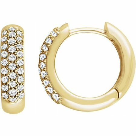 White Diamond Earrings in 14 Karat Yellow Gold 1/2 Carat Diamond Pave Hoop Earrings