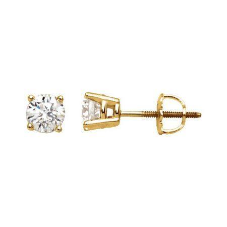 White Diamond Earrings in 14 Karat Yellow Gold 1/2 Carat Diamond Stud Earrings