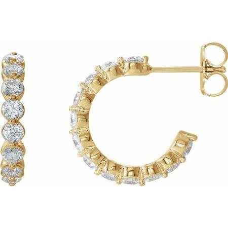 White Diamond Earrings in 14 Karat Yellow Gold 1 3/8 Carat Diamond Hoop Earrings