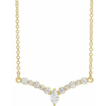 White Diamond Necklace in 14 Karat Yellow Gold 1/3 Carat Diamond 16