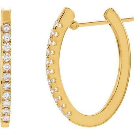 White Diamond Earrings in 14 Karat Yellow Gold 1/3 Carat Diamond 20 mm Hoop Earrings