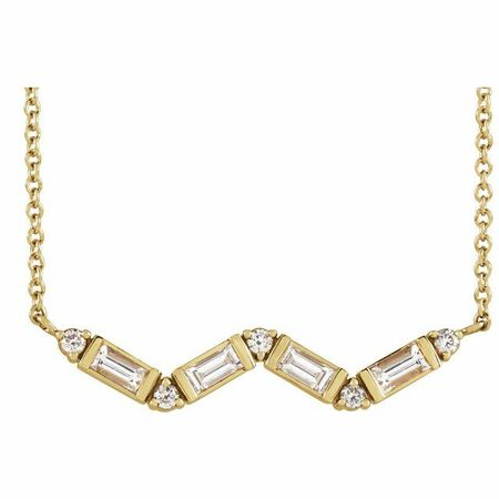 White Diamond Necklace in 14 Karat Yellow Gold 1/3 Carat Diamond Bar 18