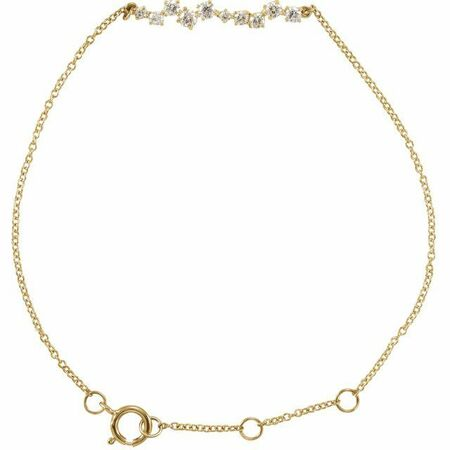 White Diamond Bracelet in 14 Karat Yellow Gold 1/3 Carat Diamond Bar 7