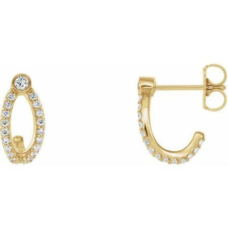 White Diamond Earrings in 14 Karat Yellow Gold 1/3 Carat Diamond J-Hoop Earrings