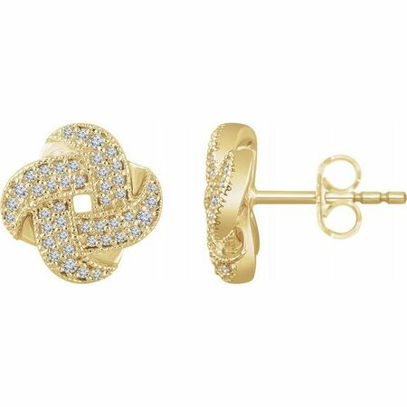 White Diamond Earrings in 14 Karat Yellow Gold 1/3 Carat Diamond Knot Earrings