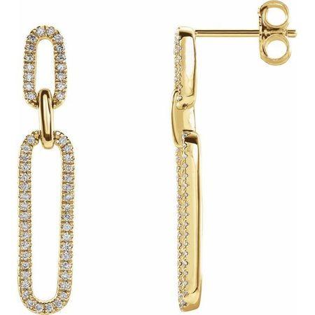 White Diamond Earrings in 14 Karat Yellow Gold 1/3 Carat Diamond Link Earrings